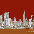 NYC red sepia  Print by Lee-Ann Adendorff
