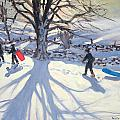 obogganers near Youlegrave Print by Andrew Macara