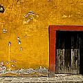 Ochre Wall with Red Door Poster by Olden Mexico