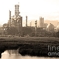 Oil Refinery Industrial Plant In Martinez California . 7D10364 . sepia Print by Wingsdomain Art and Photography
