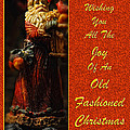 Old Fashioned Santa Christmas Card Poster by Lois Bryan