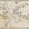 Old hand drawn vintage world map Print by Richard Thomas