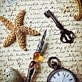 Old letter with pen and starfish Print by Garry Gay