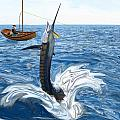 Old man and the Sailfish Poster by Ralph Martens