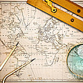 Old map and navigational objects. Print by Richard Thomas