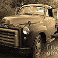 Old Nostalgic American GMC Flatbed Truck . 7D9821 . Sepia Poster by Wingsdomain Art and Photography