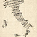 Old Sheet Music Map of Italy Map Print by Michael Tompsett