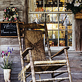 Old Wooden Rocking Chair on a Wooden Porch Print by Jeremy Woodhouse