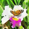 Orchid and Butterfly Print by Anthony Caruso