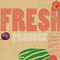 Organic Fresh Produce Poster Illustration Print by Don Bishop