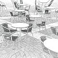 Outdoor cafe Print by Tom Gowanlock
