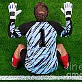 Overhead shot of a goalkeeper on the goal line Print by Richard Thomas