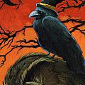 Owl and Crow Halloween Poster by Linda Apple