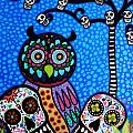 OWL AND SUGAR DAY OF THE DEAD Print by PRISTINE CARTERA TURKUS