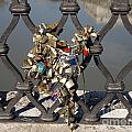 Padlocks on bridge. Rome Print by BERNARD JAUBERT
