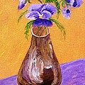 Pansies in Brown Vase Print by Jamie Frier
