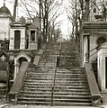 Paris Cemetery - Pere La Chaise - Mausoleum Stairs  Print by Kathy Fornal