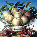 Peaches in Delft bowl with purple figs Print by Amelia Kleiser