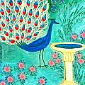 Peacock and Birdbath Print by Sushila Burgess