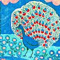 Peacock and lily pond Print by Sushila Burgess