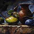 Pear and plum Poster by Emerico Imre Toth