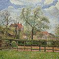 Pear Trees and Flowers at Eragny Print by Camille Pissarro