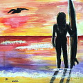 Pelican and the Surfer Girl Poster by Diane Wigstone