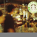 People At One Of The First Starbucks Poster by Justin Guariglia
