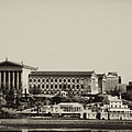 Philadelphia Museum of Art and the Fairmount Waterworks From West River Drive in Black and White Print by Bill Cannon