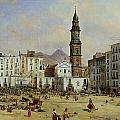 Piazza Mazaniello in Naples Print by Jean Auguste Bard