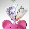 Piggy Bank And British Pounds Print by Tek Image