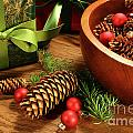 Pine cones and christmas balls  Poster by Sandra Cunningham