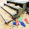 Pink and Blue Flip Flops by the Steps Print by Michael Thomas