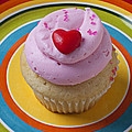 Pink cupcake with red heart Print by Garry Gay