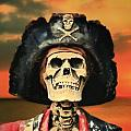 Pirate Skeleton Sunset Poster by Randy Steele
