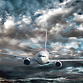 Plane in Storm Print by Olivier Le Queinec