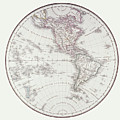 Planispheric Map Of The Western Hemisphere Print by Fototeca Storica Nazionale
