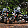 Police Motorcycles Print by Paul Ward