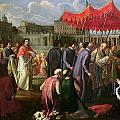 Pope Clement XI in a Procession in St. Peter's Square in Rome Poster by Pier Leone Ghezzi
