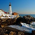 Portland Head Light - lighthouse seascape landscape rocky coast Maine Print by Jon Holiday