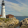 Portland Head Light Panorama  Print by Mike McGlothlen
