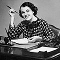 Portrait Of Businesswoman At Desk Poster by George Marks