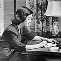 Portrait Of Woman Writing Letter At Desk Poster by George Marks