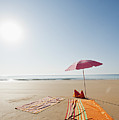 Portugal, Algarve, Sagres, Sunshade And Blanket On Beach Poster by Westend61