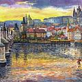 Prague Charles Bridge and Prague Castle with the Vltava River 1 Poster by Yuriy  Shevchuk