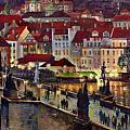 Prague Charles Bridge with the Prague Castle Print by Yuriy  Shevchuk