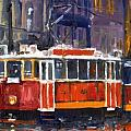 Prague Old Tram 09 Poster by Yuriy  Shevchuk
