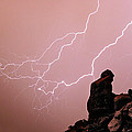 Praying Monk Camelback Mountain Lightning Monsoon Storm Image Poster by James BO  Insogna