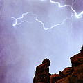 Praying Monk Camelback Mountain Paradise Valley Lightning  Storm Poster by James BO  Insogna