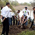 President And Michelle Obama Help Plant Print by Everett